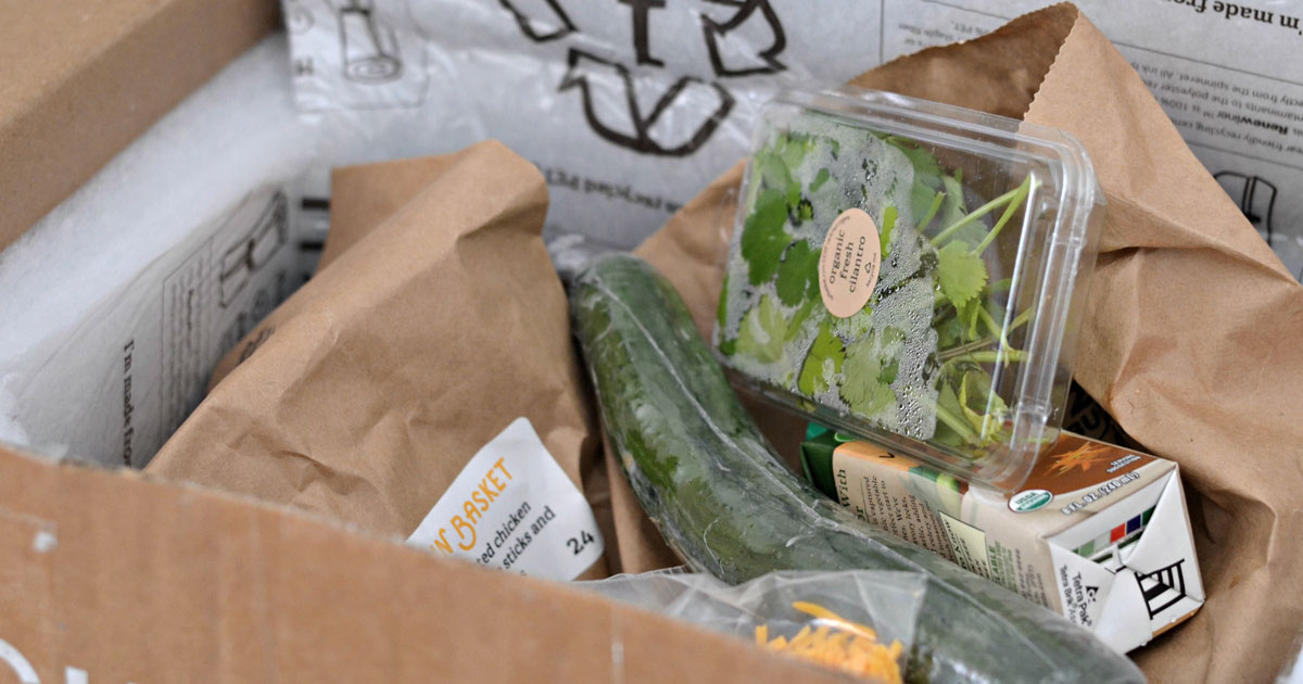 meal delivery box opened and fresh food