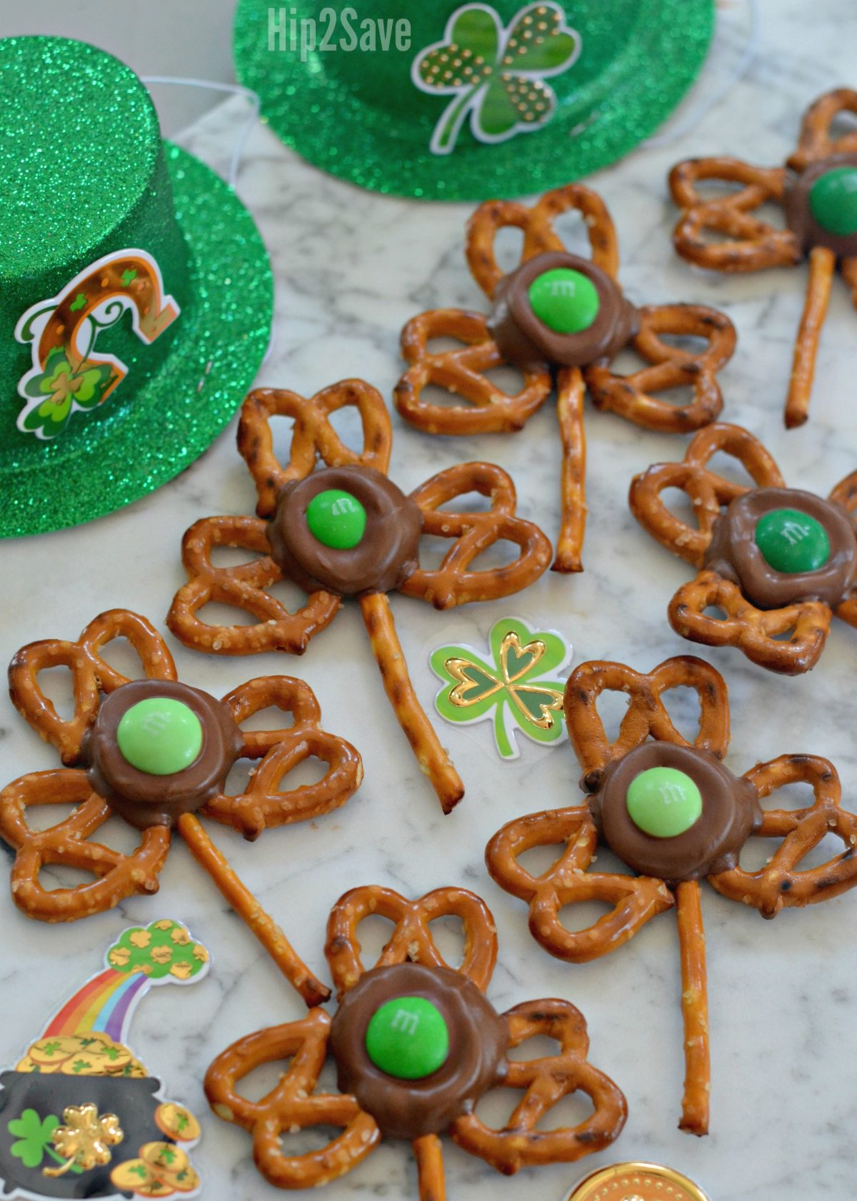 st patricks day snacks shamrocks next to green party hats