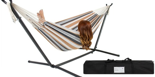 Double Hammock w/ Steel Stand and Carrying Case Only $49.95 Shipped
