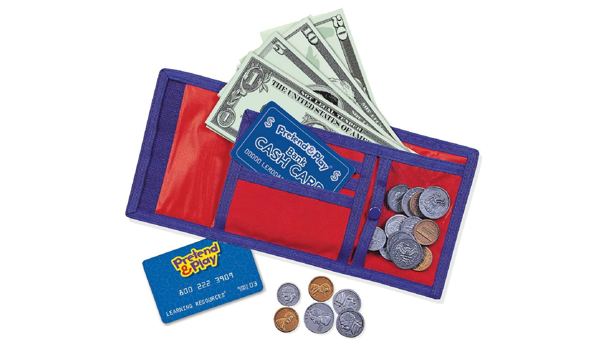 Pretend & Play cash and carry wallet with fake money