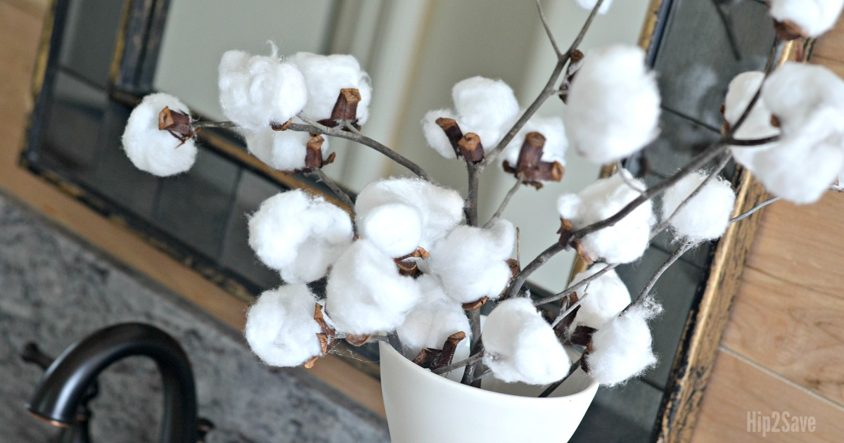 DIY Cotton Stem Branches in a vase