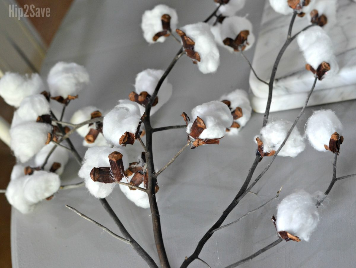 diy cotton stem decor closeup of finished stems