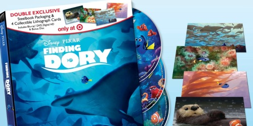 Target.com: Finding Dory Blu-ray/DVD/Digital Combo w/ Lithograph Cards Only $15 (Reg. $27.99)