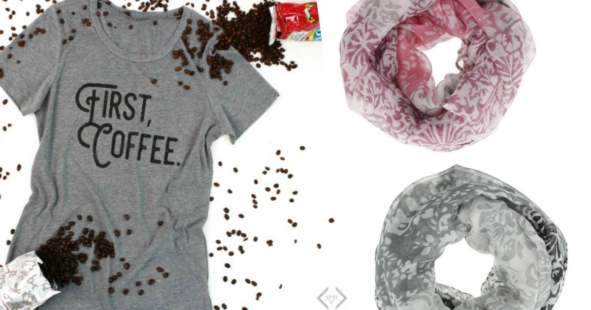 First, Coffee Tee and Scarf