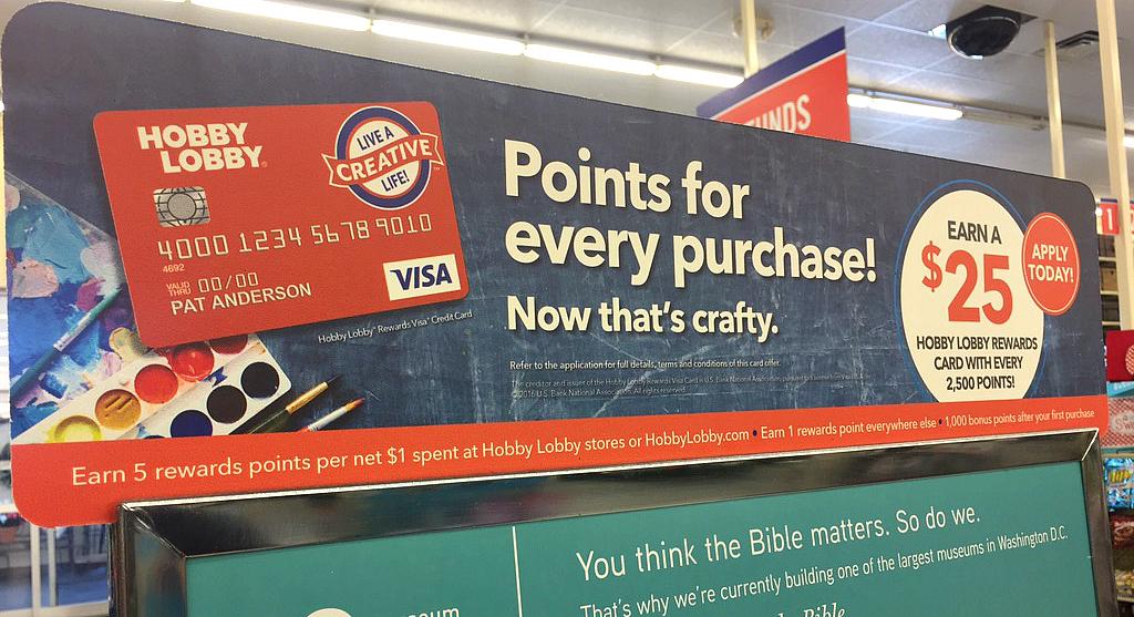 Hobby Lobby Visa Rewards signage