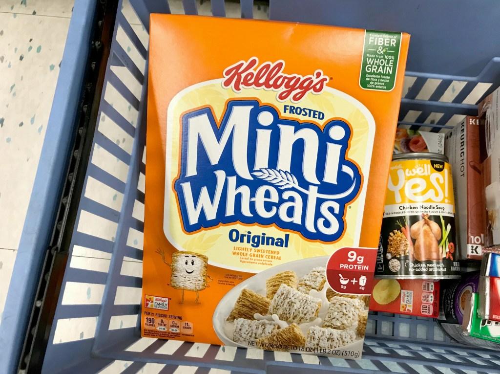 Kellogg's Frosted Mini Wheats box in Rite Aid basket