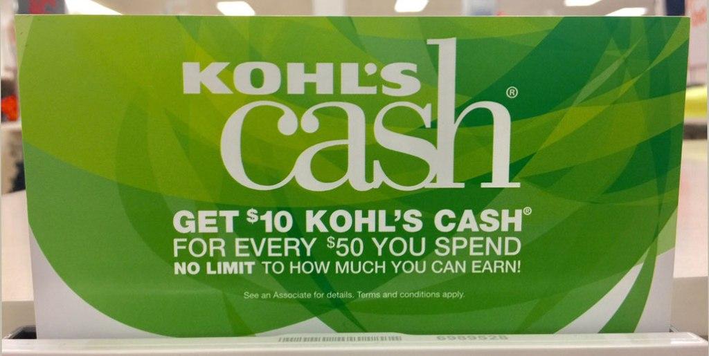 Kohl's Cash sign at Kohl's