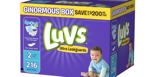 Amazon Family: Luvs Size 2 Diapers 216-Count Box Only $13.58 Shipped (Just 6¢ Per Diaper)