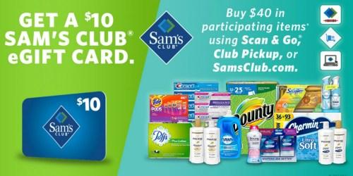 Sam's Club: FREE $10 eGift Card w/ $40 P&G Product Purchase
