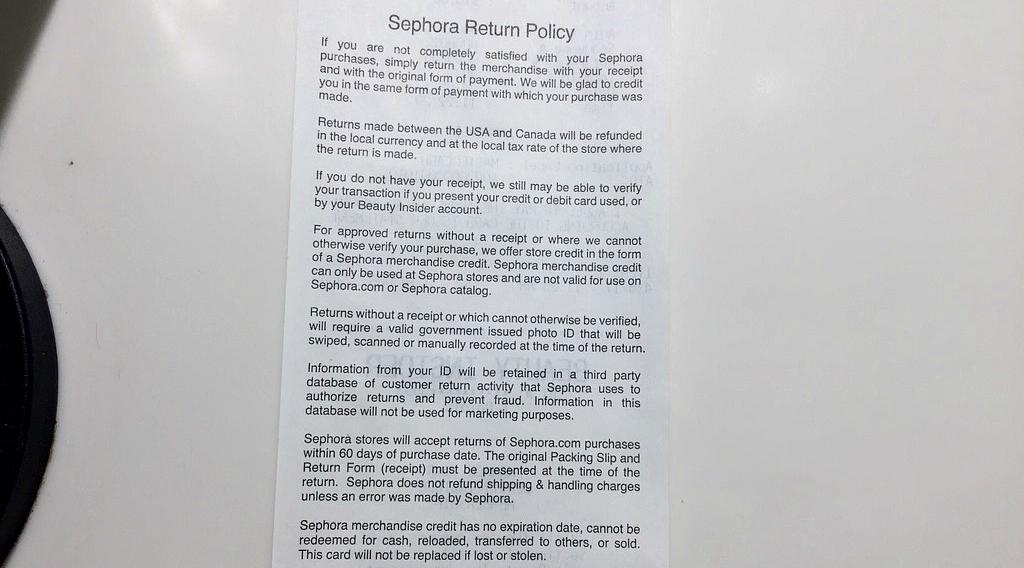 sephora return