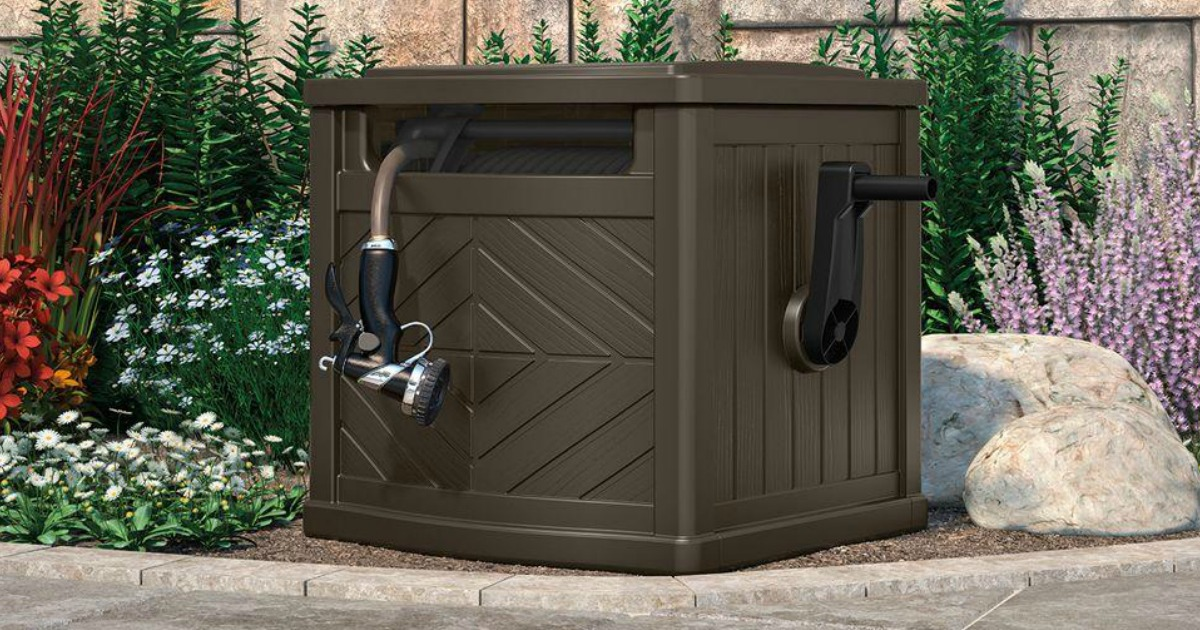 home depot suncast hideaway hose storage container only regularly hip2save. Black Bedroom Furniture Sets. Home Design Ideas