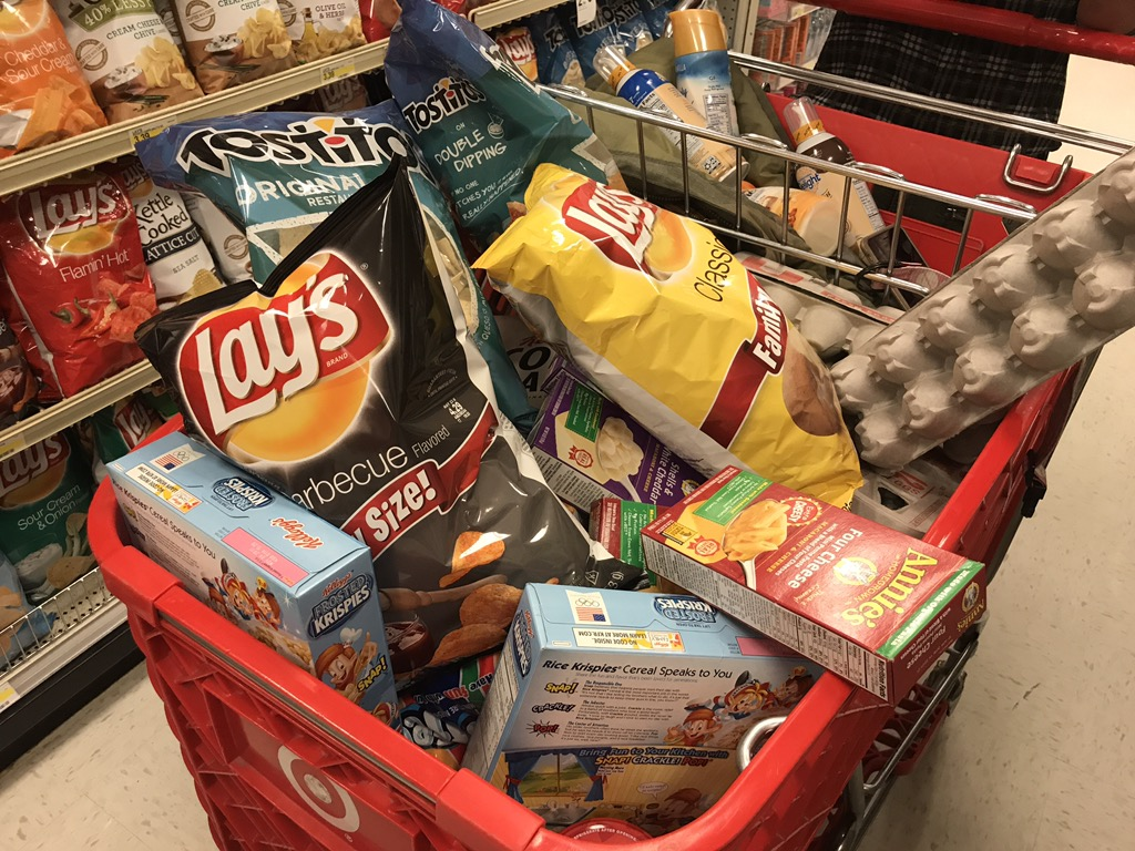 Target cart filled with groceries