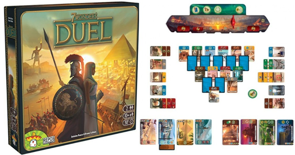 7 wonders duel strategy card game box with cards next to it