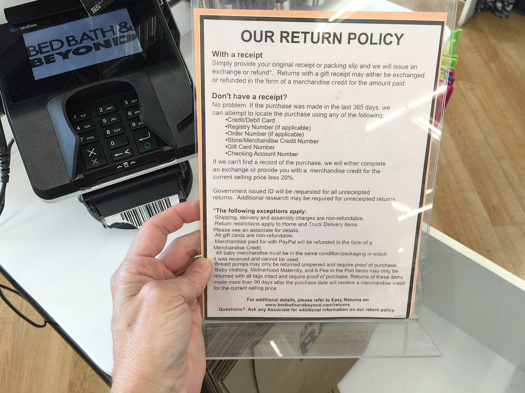 17 bed bath beyond money saving secrets - return policy sign