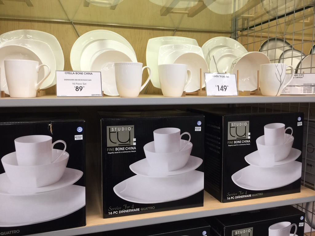 17 bed bath beyond money saving secrets - dish sets on display in the store