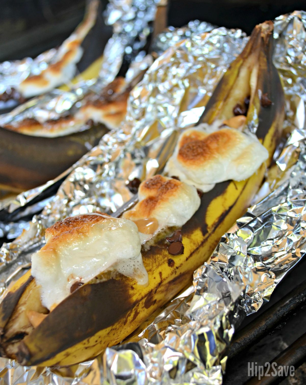 campfire banana boat dessert after grilling