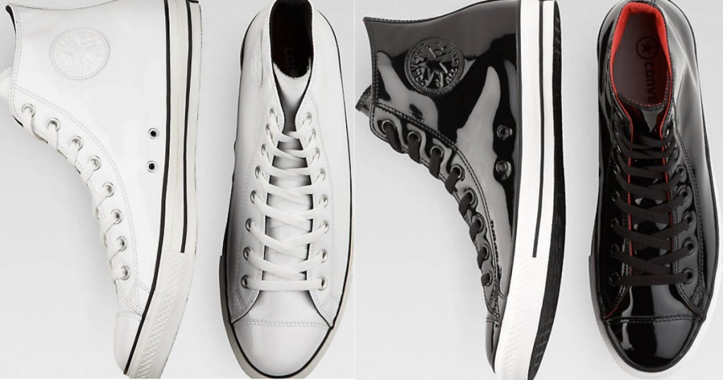 9a3ca8ef41fa68 Hop on over to Men s Wearhouse where you can score these Converse Patent  Leather High-Top Tennis Shoes (available in black OR white) for ONLY  27.99  ...