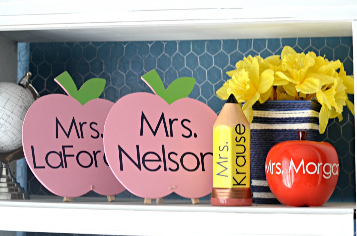 teacher crafts lined up on a shelf
