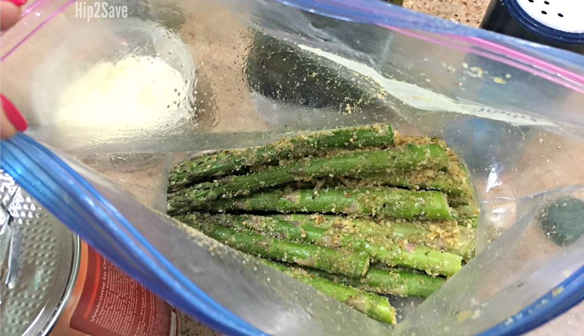 seasoning the asparagus in a zippered, sealed bag