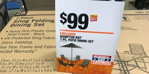 Home Depot: Hampton Bay 7-Piece Patio Dining Set ONLY $99 (Includes Umbrella & Base)