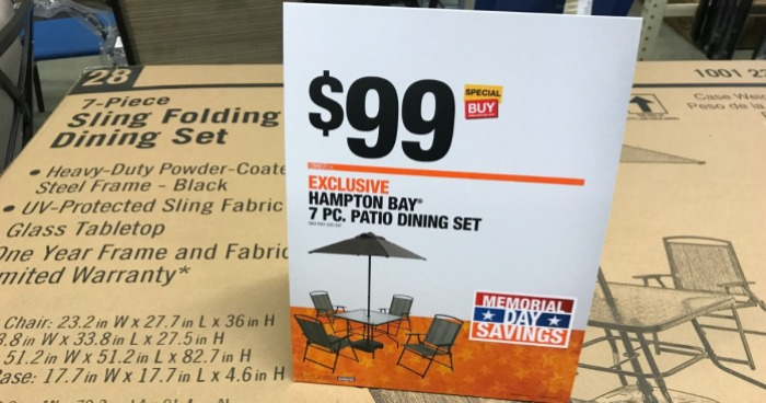Home Depot Hampton Bay 7 Piece Patio Dining Set Only 99 Includes Umbrella Base