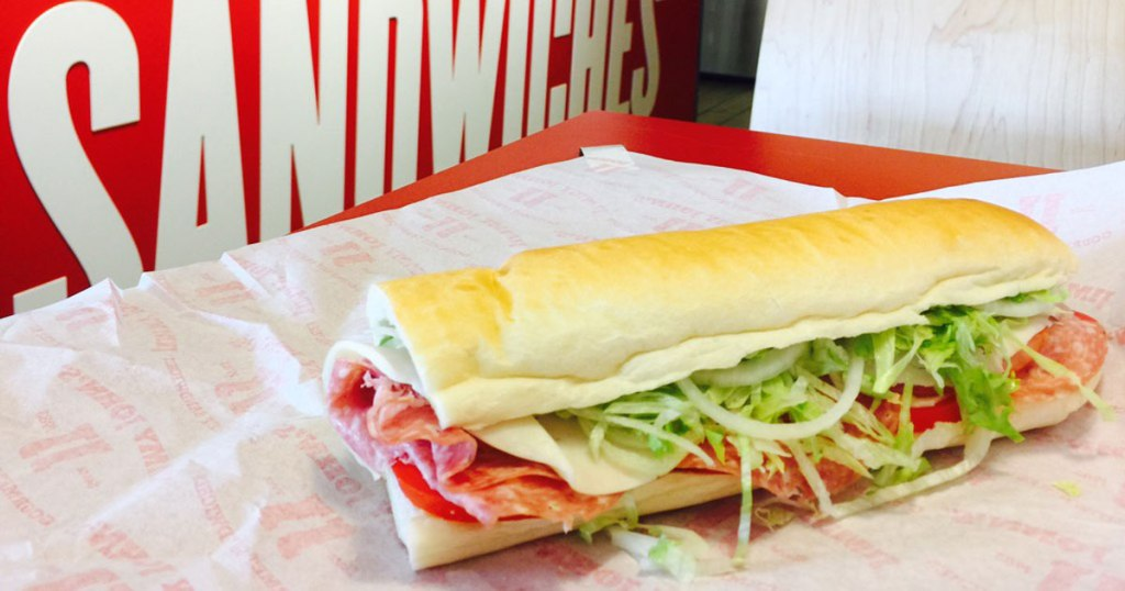 Jimmy John's sandwich with salami, cheese and lettuce