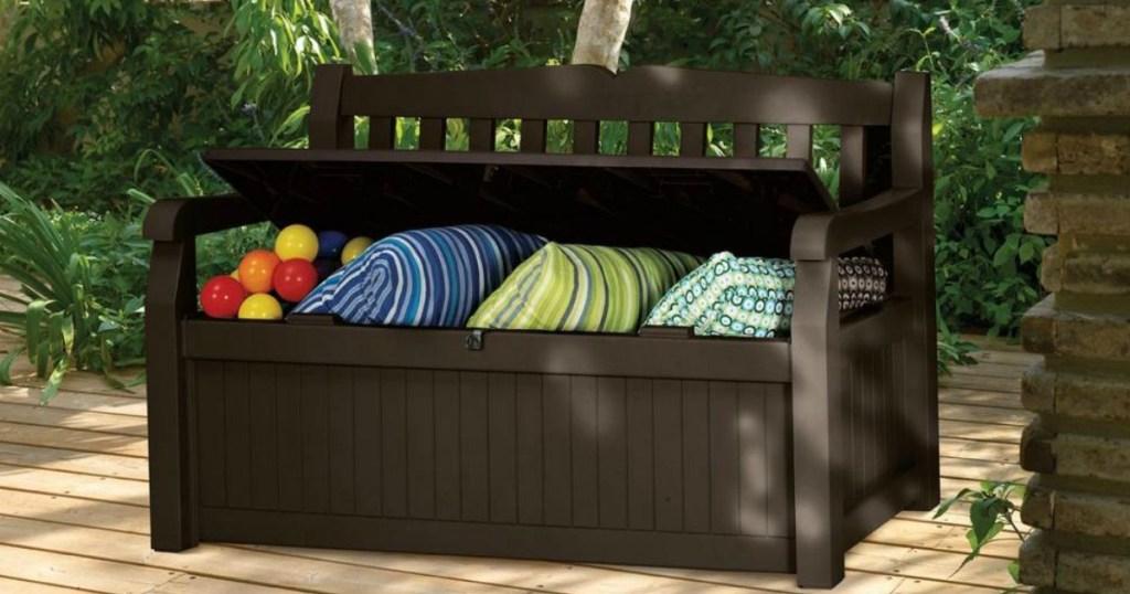 Excellent Amazon 70 Gallon Outdoor Patio Storage Bench Only 68 99 Creativecarmelina Interior Chair Design Creativecarmelinacom