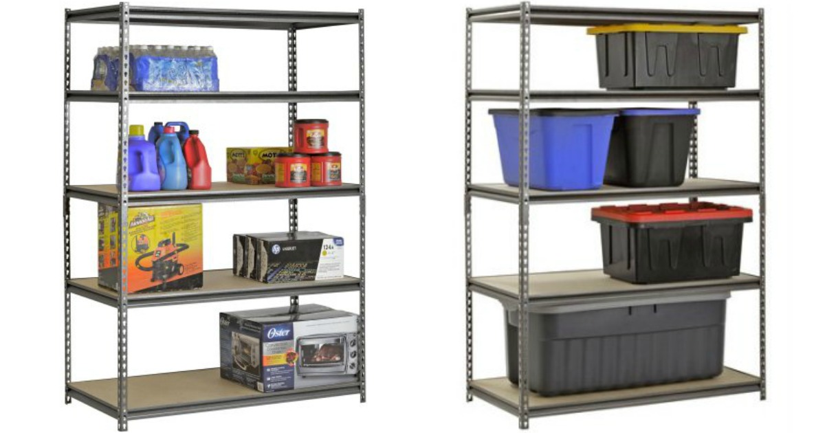 Muscle Rack Shelving with water bottles, detergent, car vacuum, and plastic storage totes