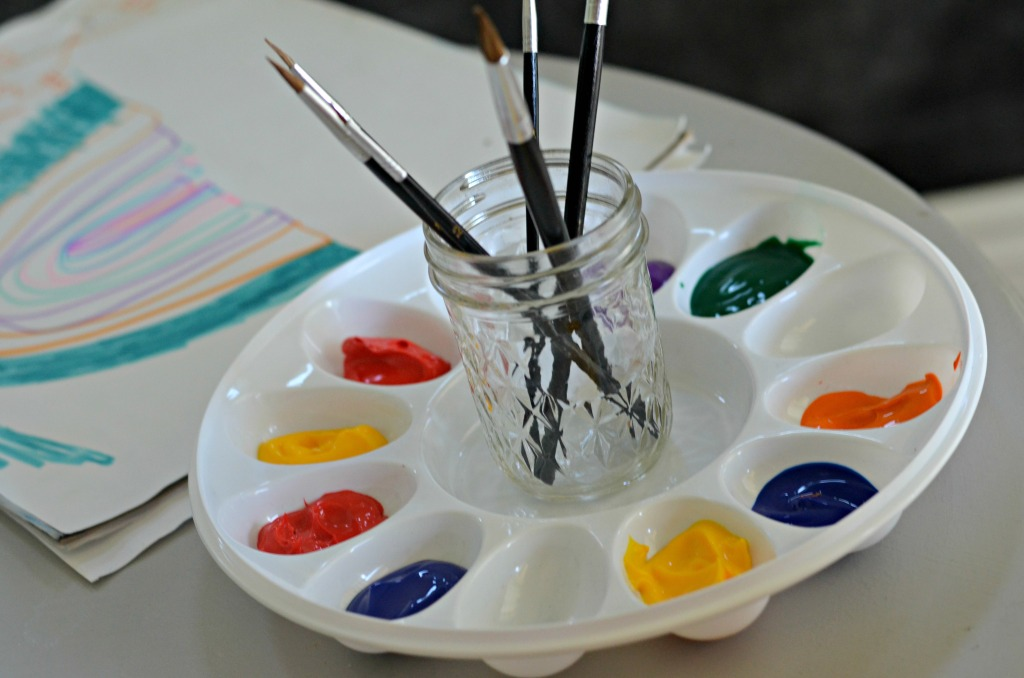 painting station with summer dollar tree supplies
