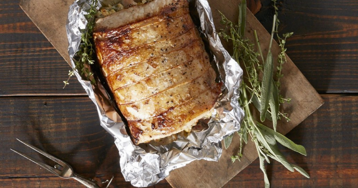 Reynold's Aluminum Foil around meat and herbs