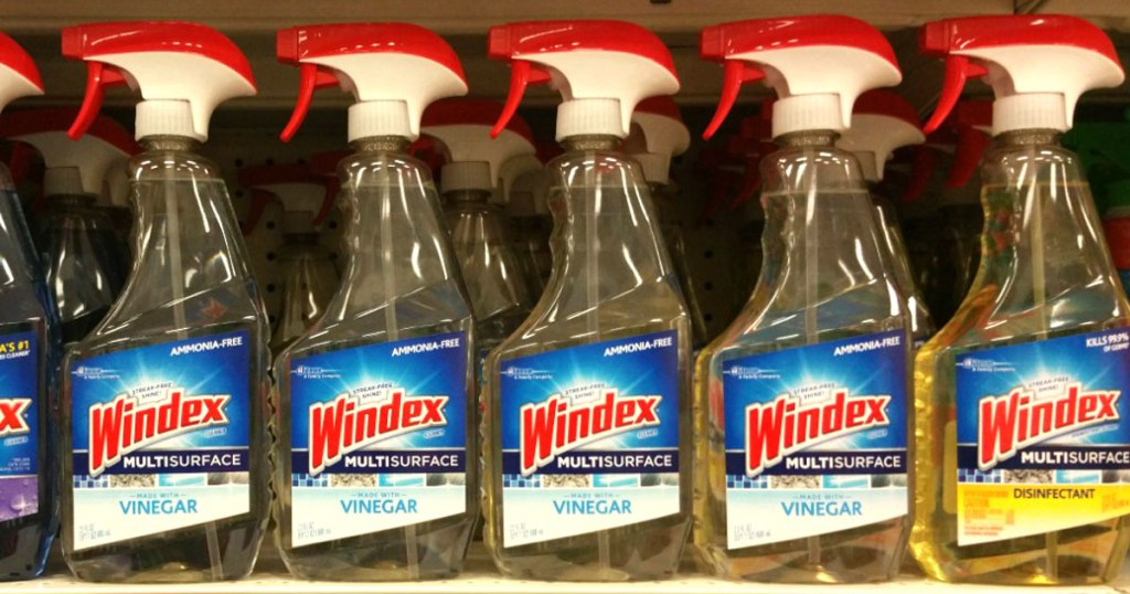 Many Windex with Vinegar on store shelf