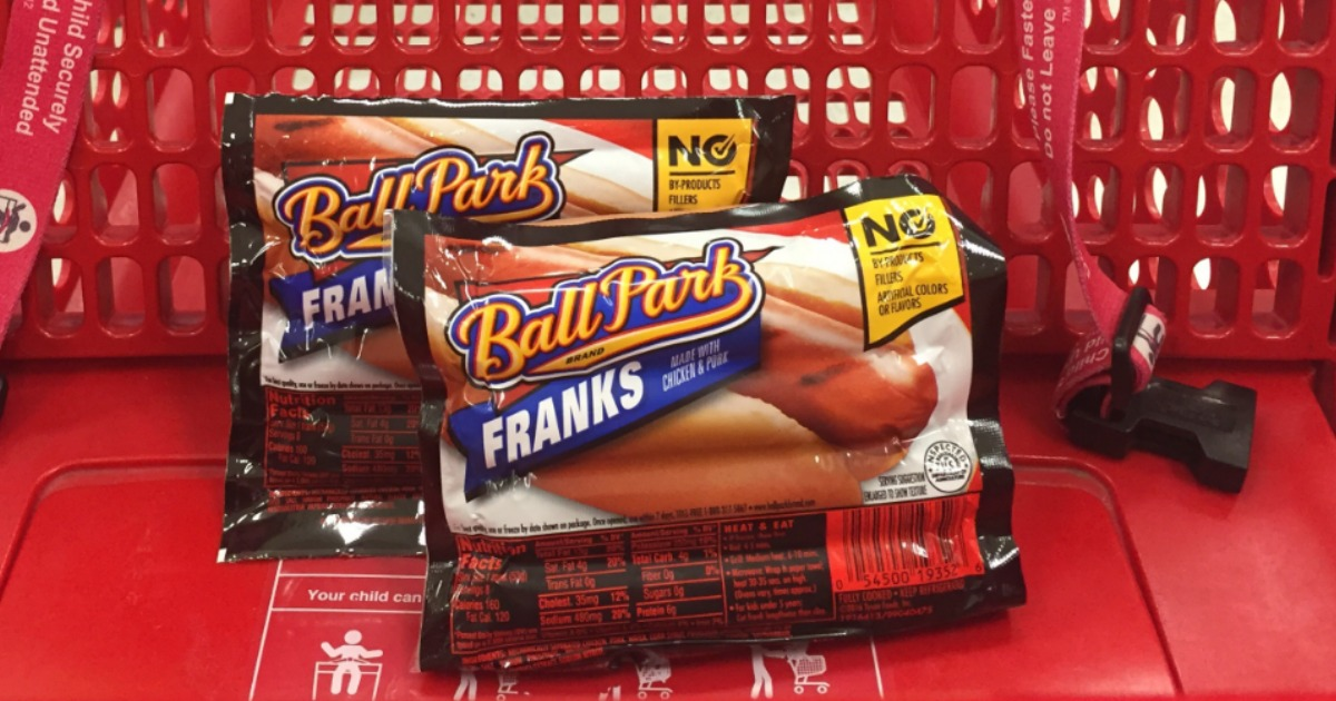 Ball Park Hot Dogs in a cart