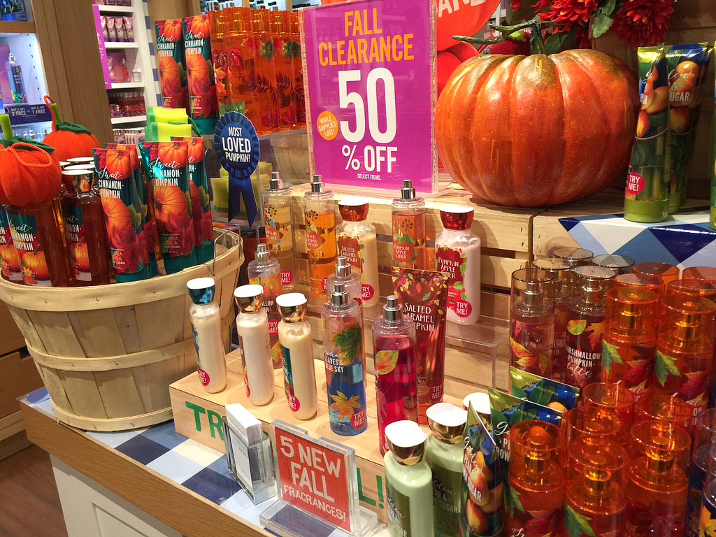 16 secrets for saving big at bath & body works – fall clearance display