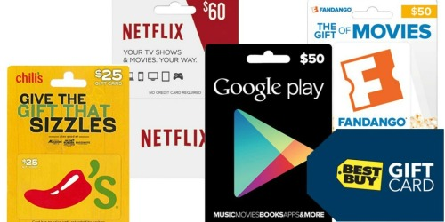 FREE $5 Best Buy Gift Card w/ $50 Entertainment Gift Card Purchase (Chili's, Netflix & More)