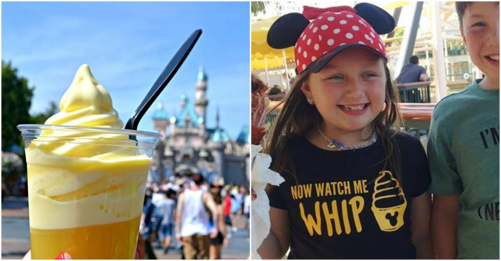 kids at Disney with dole whip