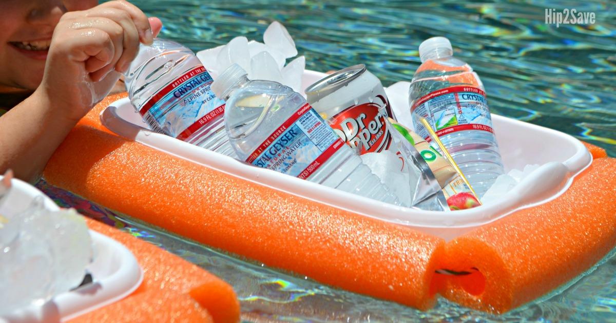 DIY floating drink cooler filled with water bottles