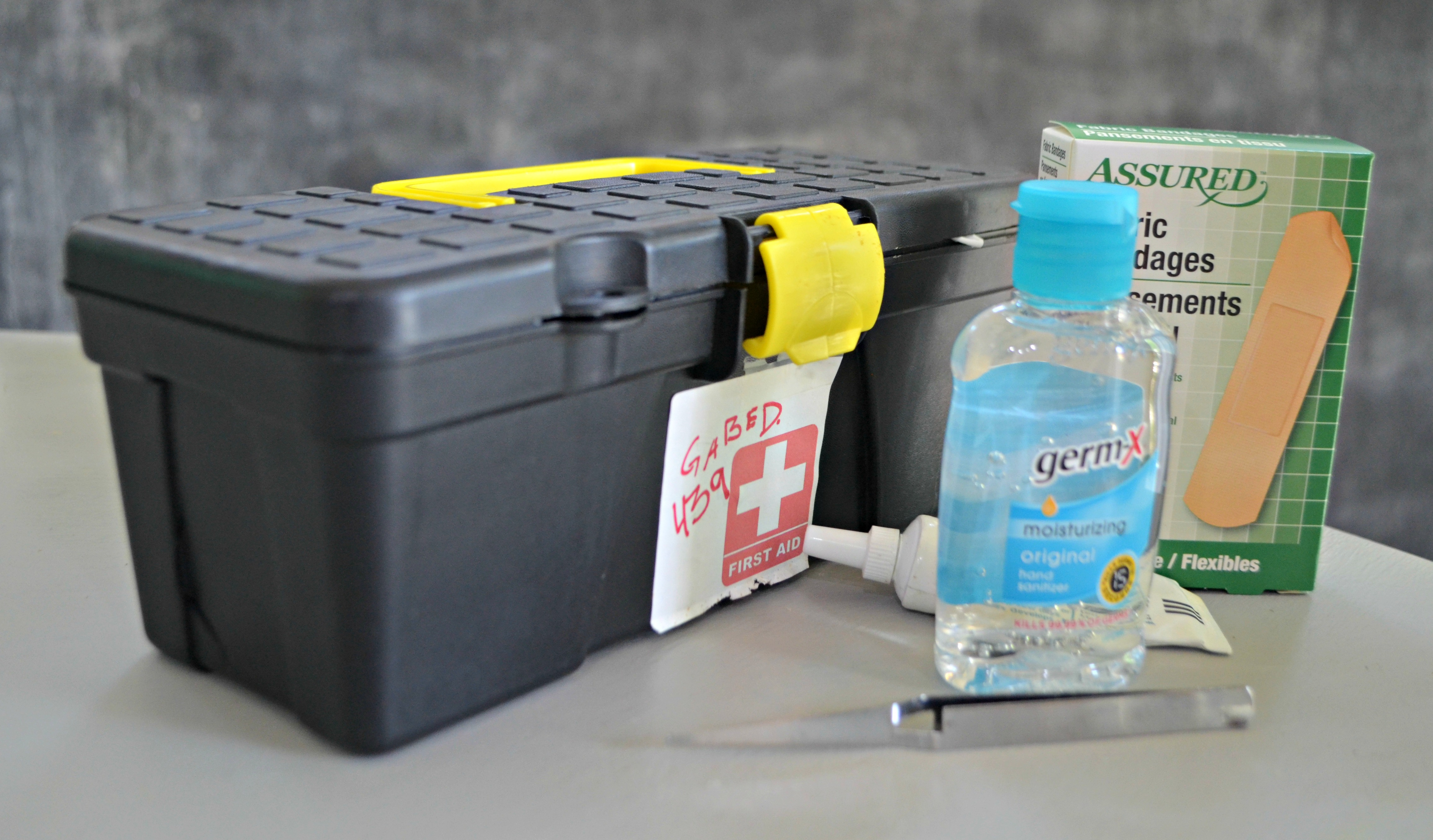 tool box with first aid supplies