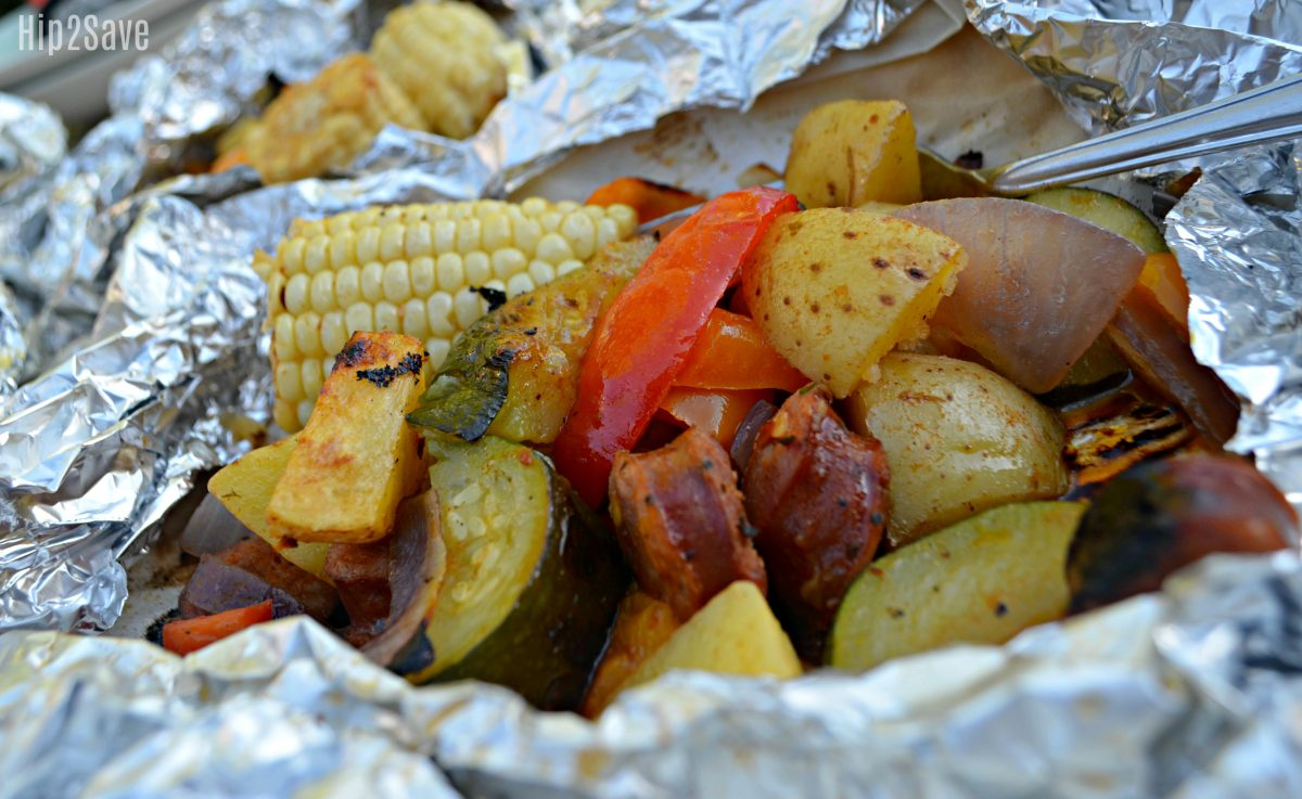 foil pack cooked veggies and sausage