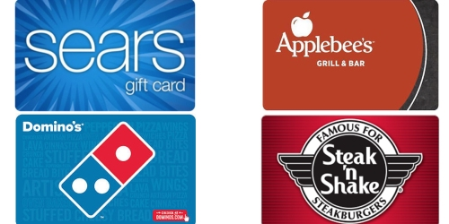 $100 Sears Gift Card Only $85 + Discounted Domino's, Applebee's & CVS Gift Cards