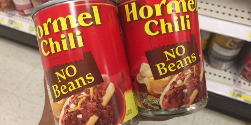 NEW $0.55/2 Hormel Chili Coupon = 10.5oz Can Only $1.07 at Target