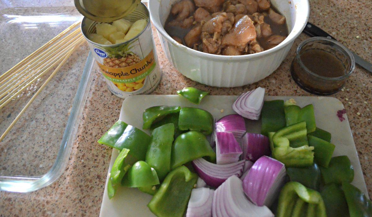 making chicken kabobs