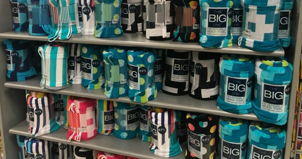 The Big One Beach Towels on shelf at Kohl's