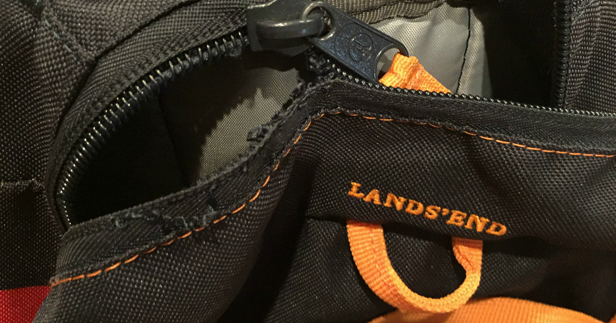 Land's End backpack with broken zipper