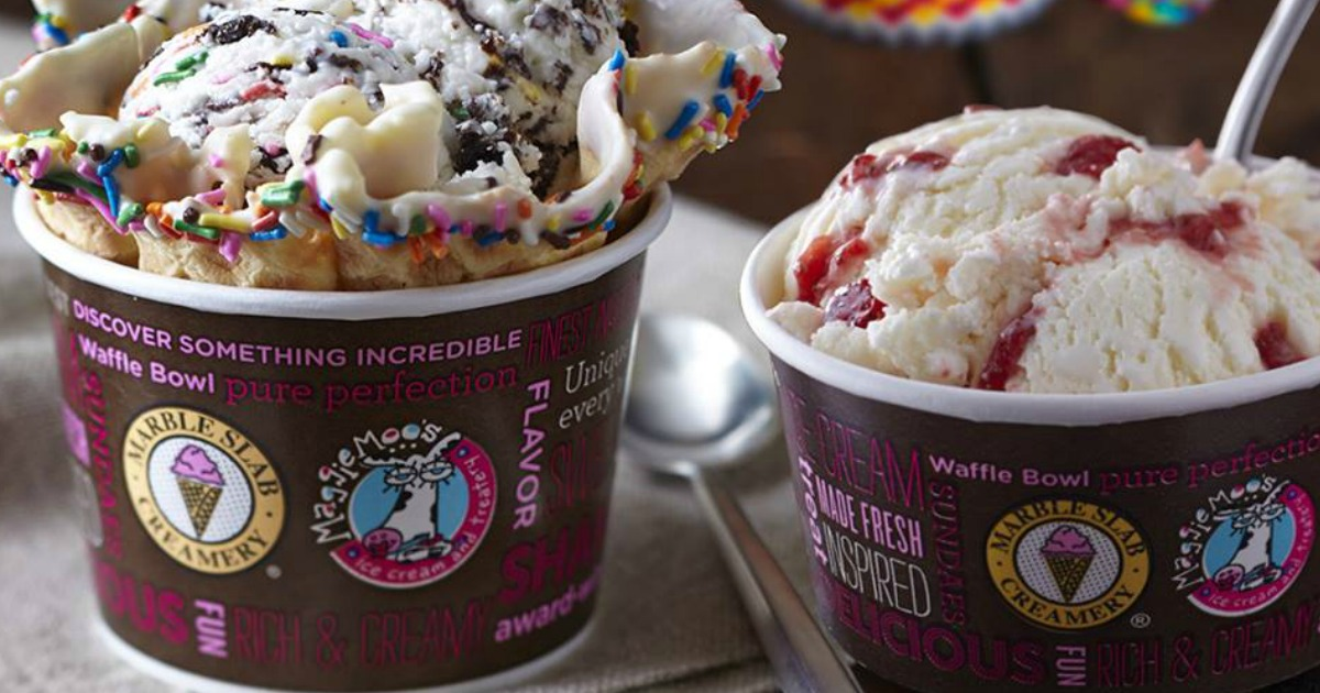ice cream in cups at Marble Slab or Maggie Moos