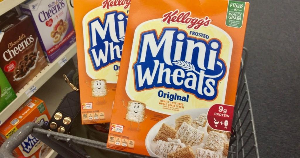 Kelloggs Mini Wheats in a acart