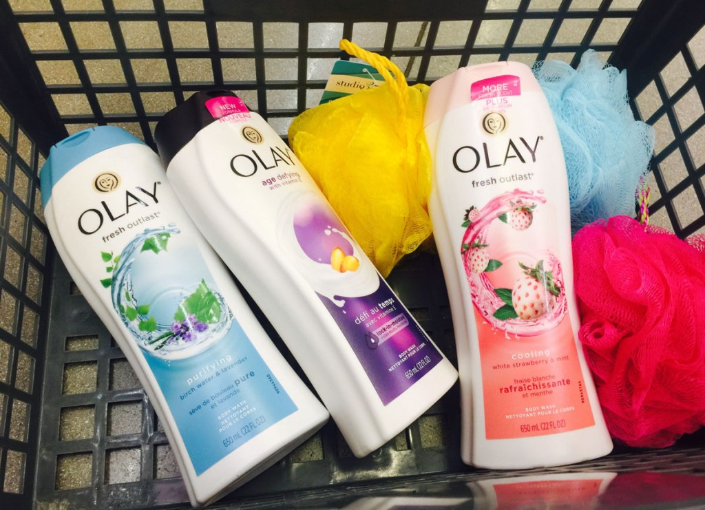 Olay Body washes in basket