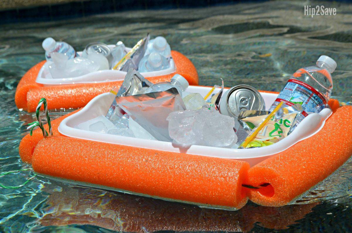 DIY hack floating pool coolers floating in the pool