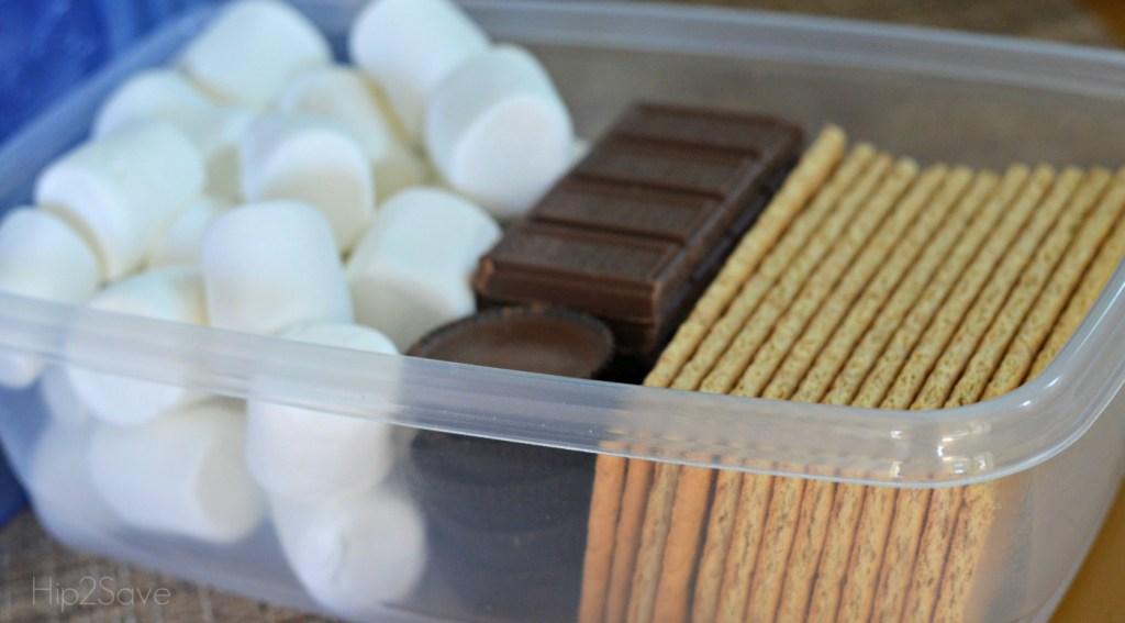 s'mores ingredients in plastic bin