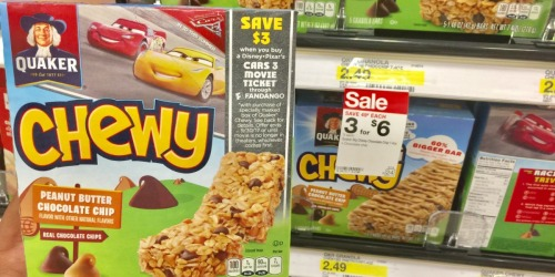 Target Shoppers! Get $3 Off Cars 3 Movie Ticket for Purchasing Quaker Chewy Bars