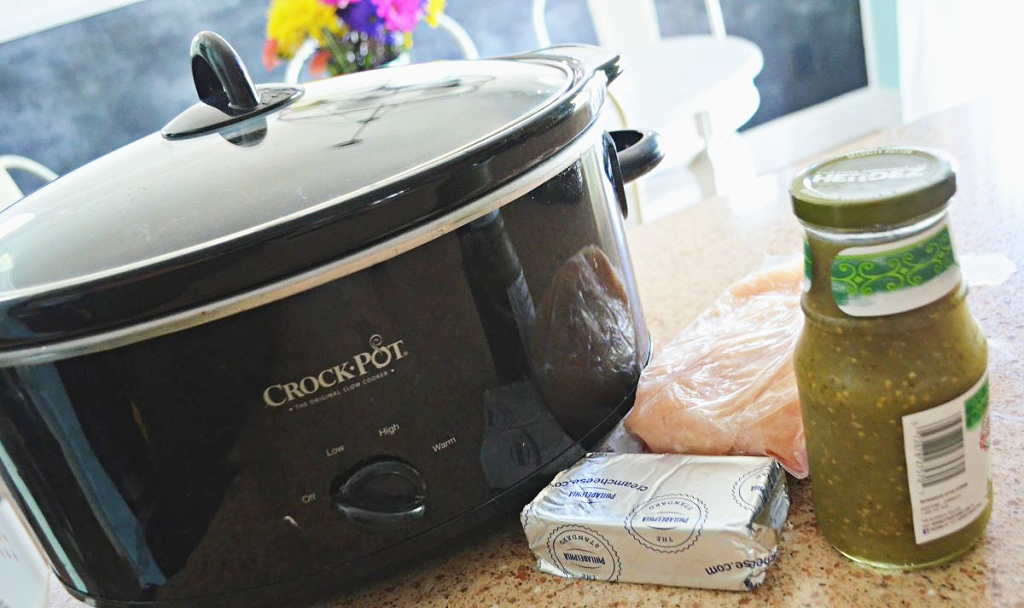 crock pot with ingredients on counter